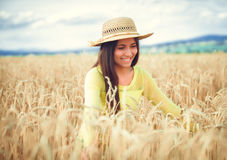 Rural girl in field Royalty Free Stock Image