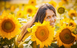 Rural girl in field sunflowers Royalty Free Stock Images