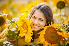 Rural girl in field sunflowers Stock Photography