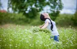 Rural girl in the field Royalty Free Stock Photos