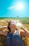 Rural girl in hay Royalty Free Stock Image