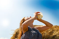 Rural girl in hay Stock Photography