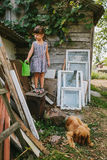 Rural girl with her dog among the old wooden trash Stock Image