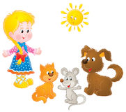 Rural Girl and pets. Isolated clip-art / children's book illustration for your design Stock Images