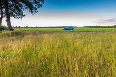 Rural grassland landscape with green off-road car Royalty Free Stock Photography