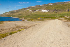 Rural gravel route to Unadsdalur - Iceland. Royalty Free Stock Images