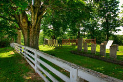 Rural Graveyard. Beautiful Tree and Fence Overlooking an Old Graveyard stock photos