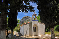 Rural greek white chapel on samos Royalty Free Stock Photography