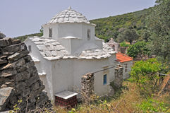 Rural greek white chapel on samos Stock Image
