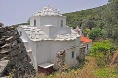 Rural greek white chapel on samos Stock Image