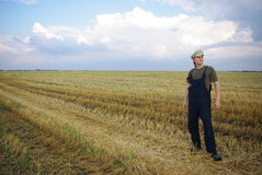 Rural guy. In Ukraine on field Stock Image