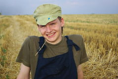 Rural guy. In Ukraine on field Stock Photos