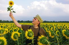 Rural guy. In Ukraine on field Stock Photo
