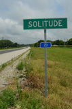 Rural highway road sign SOLITUDE Royalty Free Stock Photography