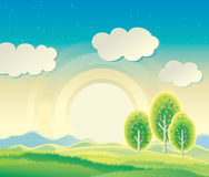 Rural hilly landscape. Rural hilly landscape with three trees. Sunrise Royalty Free Stock Photos
