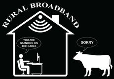 Rural Home Broadband. Comical representation of slow rural home broadband  on black background Stock Photography