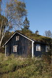 Rural home with grass roof. Exterior of traditional Norwegian wooden cabin or lodge with grass roof in countryside stock photos