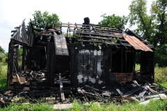 A rural home that has been destroyed by fire. Stock Photography