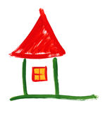 Rural home. watercolor drawing Royalty Free Stock Photography