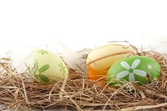 Rural horizontal view of easter eggs in the hay with flowers isolated Royalty Free Stock Images