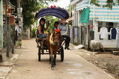 Rural Horse cart with tourist in Vietnam village Royalty Free Stock Photo