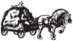 Rural horse drawn cart. With hay, black and white illustration Stock Photo
