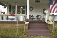 A rural house with American flag. And We Support Our Troops sign in Ohio Stock Image