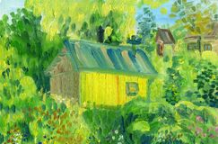 A rural house in the background of trees and a garden. Rough brush strokes. Oil painting on canvas stock illustration