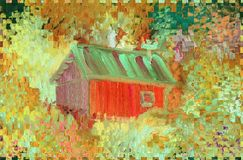 A rural house in the background of trees and a garden. Rough brush strokes. Oil painting on canvas and digital technology royalty free illustration