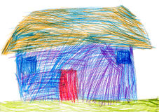 Rural house. child drawing Royalty Free Stock Image