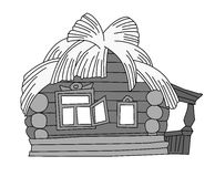 Rural house drawing Stock Image