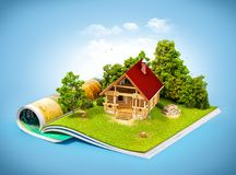 Rural house in a forest on a page of opened magazine. Cute rural house in a forest on a page of opened magazine.  Unusual travel illustration Royalty Free Stock Image