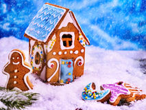 Rural house of gingerbread houses, close-up. Stock Photography