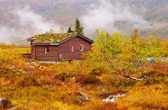 Rural house with grass roof  mountains, Norway Royalty Free Stock Photo