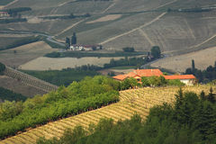 Rural house on the hill in Piedmont, Italy. Royalty Free Stock Image