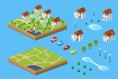 Rural house. Isometric set of facilities for the construction of the rural landscape of the isometric Royalty Free Stock Images