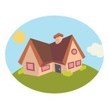 Rural house in the meadow. Vector Illustration Royalty Free Stock Image
