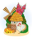 Rural house, mill, flowering garden and cockerel on white background Royalty Free Stock Image