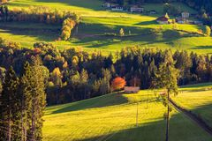 Rural house on mountain of the surroundings of Merano in the province of Bolzano at the late autumn. Italy royalty free stock photo