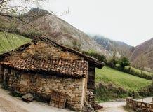 Rural house next to a mountain in Asturias, spain stock photos