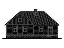 Rural house from processed logs. Angle connections with square logs. Vector illustration. Black silhouette stock illustration