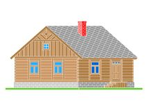 Rural house from processed logs. Angle connections with square logs. Vector illustration. Color silhouette royalty free illustration
