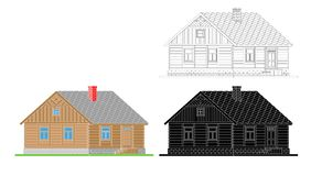 Rural house from processed logs. Angle connections with square logs. Vector illustration. White , black , color silhouette royalty free illustration