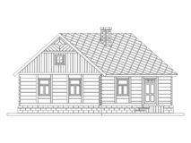 Rural house from processed logs. Angle connections with square logs. Vector illustration. White silhouette stock illustration