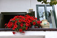 Rural house with red Geranium flowers in the veranda Royalty Free Stock Images