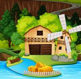 A rural house scene. Illustration royalty free illustration