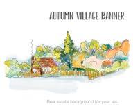 Rural house sketch for the real estate background. Vector illustration royalty free illustration