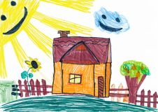 Rural house and smiling sun. childs drawing.