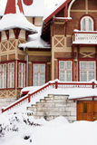 The rural house in a snow, winter Royalty Free Stock Photography