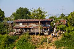 Rural house in Thailand (beside the river) Royalty Free Stock Photography
